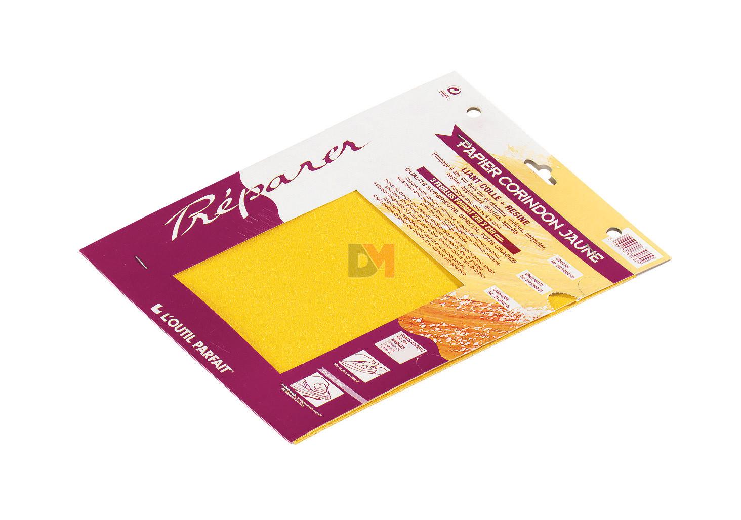 papier de verre poncer corindon jaune grain 80 poign e. Black Bedroom Furniture Sets. Home Design Ideas