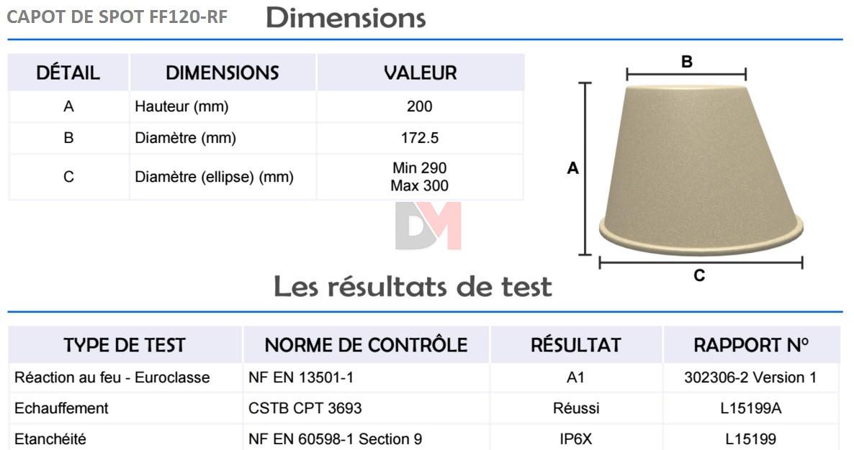 capot de spot ff120 isocell accessoires isolation. Black Bedroom Furniture Sets. Home Design Ideas