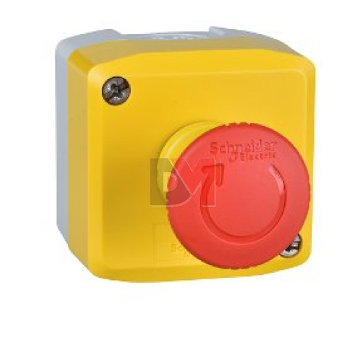 Harmony XAL - boite jaune arrêt urgence rouge - pousser tourner - 1F+1O - Ø40 Schneider Electric