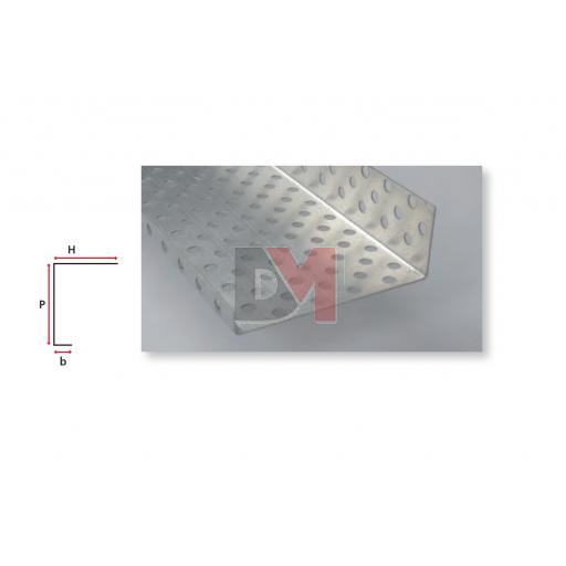 Profilé d'arrêt latéral en aluminium perforé pour ép. isolant 270mm - 2,5ML
