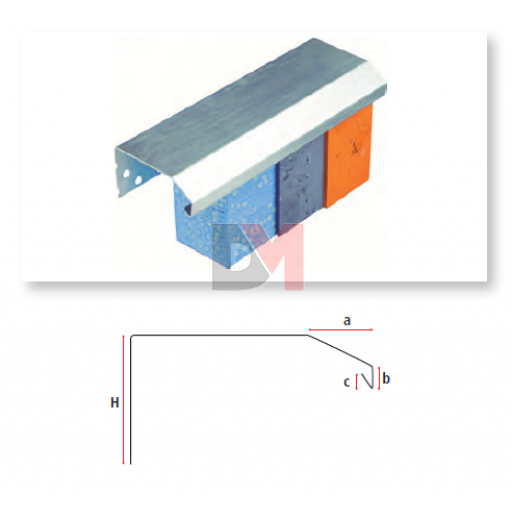 Profilé de couronnement en aluminium 160mmx2,5ML