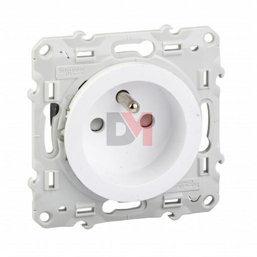 Odace prise de courant 2P+T blanc, à vis, 4 connexions rapides S520049