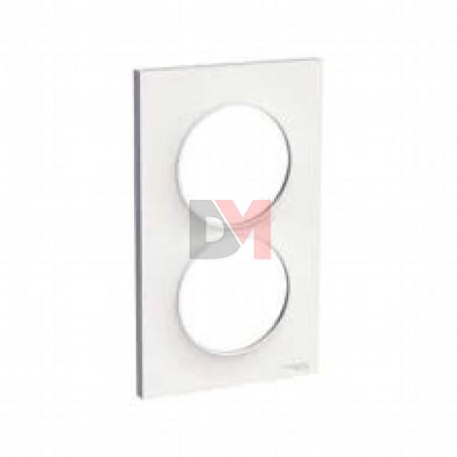 Odace Styl, plaque Blanc 2 postes verticaux entraxe 57mm